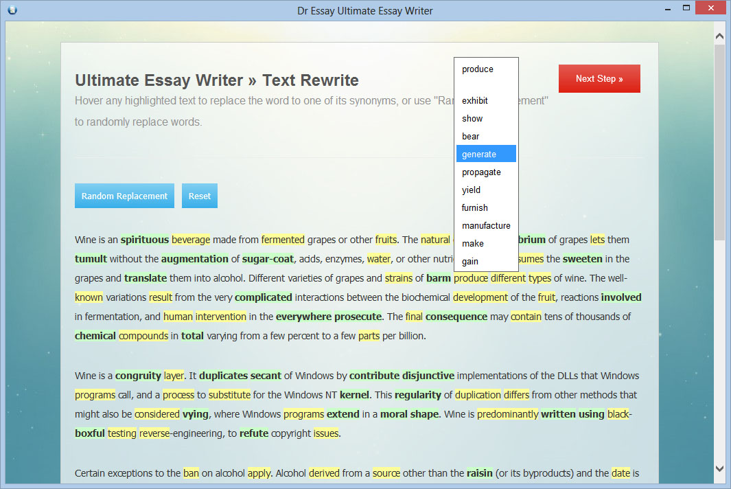 Automatic essay writer software
